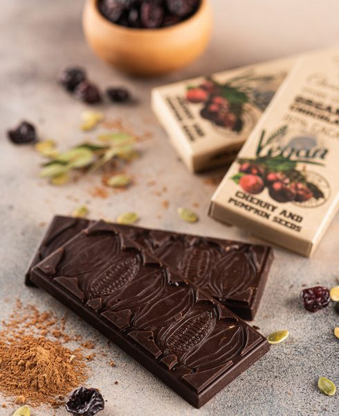 Organic Chocolate with Cherry and Pumpkin Seed 80% Cacao