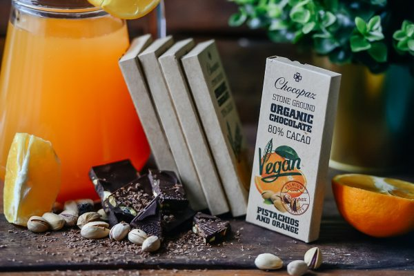 Organic Chocolate with Pistachios and Orange 80% Cacao