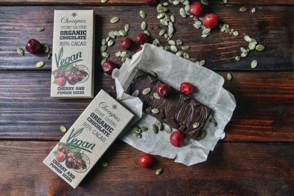 Organic Chocolate with Cherry and Pumpkin Seed 80%